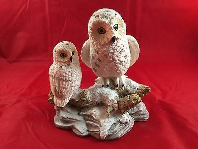 Snowy Owls on Log Figurine - Great Condition