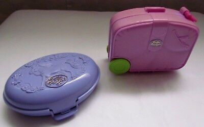Vintage Polly Pocket Pink Suit Case  By BlueBird 1996 & Lilac Clam Case
