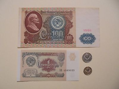 1&100 Rouble Russian Notes & 2X Russian Coins All Dated 1991 Soviet Era