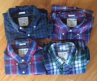 Lot of 4 Men's Abercrombie XXL Button Front long Sleeve Shirts Muscle