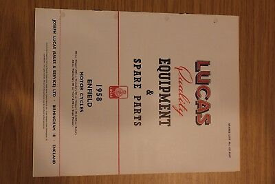 Enfield Motorcycles 1958 Lucas Quality Equipment & Spare Parts Original Booklet