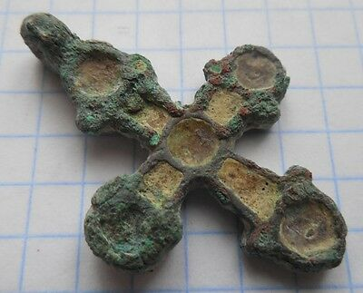 Viking period Bronze two-way cross in enamels 900-1300 AD VF+++