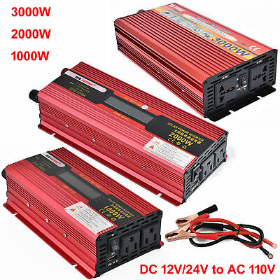2000W/3000W Peak Car LED Power Inverter Converter DC 12V To AC 110V USB Charger