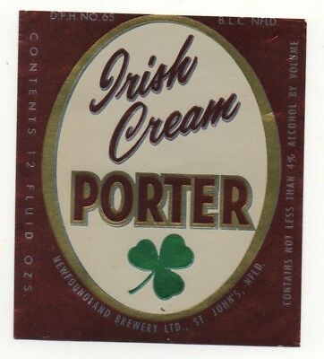 OLD BEER LABEL / S  - CANADA  - NEWFOUNDLAND PORTER - 88mm TALL