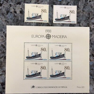 1988 Europa Cept                        Bloc Et 2 Timbres Portugal Madeire  **