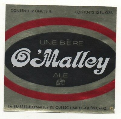 OLD BEER LABEL / S  - CANADA  - O'MALLEY - QUEBEC - 76mm TALL