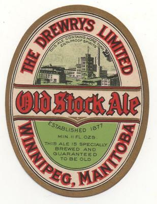 OLD BEER LABEL / S  - CANADA  - DREWRY - OLD STOCK ALE - 96mm TALL