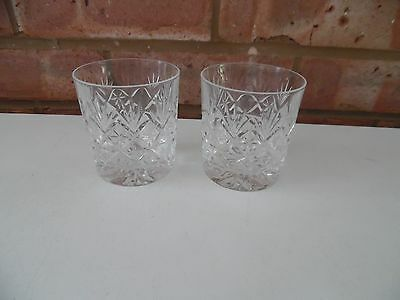 Thomas Webb Set of Two Whisky Tumblers Glasses