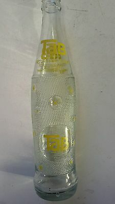 "Rare American ""tab Diet Cola"" 16 Oz/1 Pint Embossed Clear Glass  Bottle-Yellow"