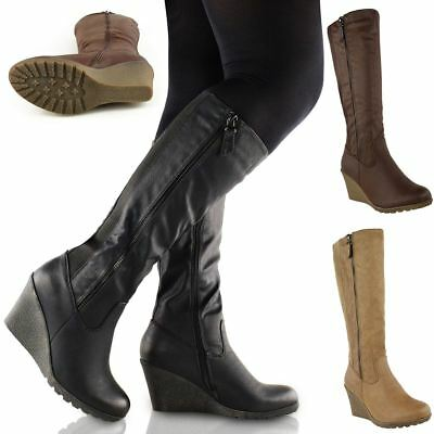 Womens Ladies Wedge Heel Knee High Mid Calf Wide Leg Elastic Winter Biker Boots