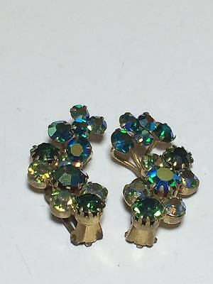 Vintage signed Triad blue and green iridescent clip on earrings