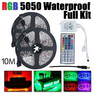2x 5M RGB 5050 Waterproof LED STRIP LIGHT 44 KEY REMOTE US 12V POWER Full Kit