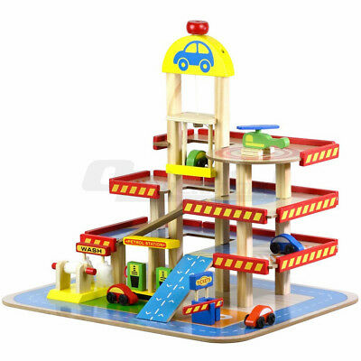 Wooden Multilevel Car Park Garage Helipad Petrol Gas Station Toy Cars Play Set