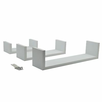 Rectangular Floating Wooden Wall Storage Display Shelves 3 Sizes White Set of 3