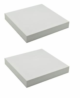 Harbour Housewares Pack Of 2 Floating Wooden Wall Shelves 25cm x 25cm - White