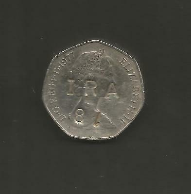 Rare Defaced 1977 - English 50p - Coin - Q- Elizabeth II -IRA 81 Political