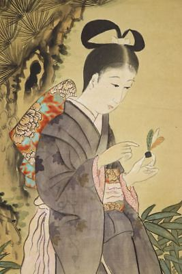 """JAPANESE HANGING SCROLL ART Painting """"Beauty"""" Asian antique  #E8071"""