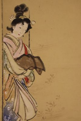 """JAPANESE HANGING SCROLL ART Painting """"Beauty"""" Asian antique  #E8095"""