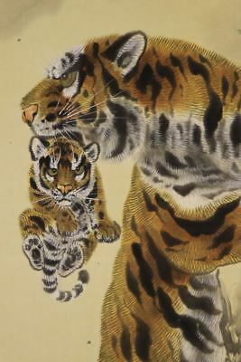 """JAPANESE HANGING SCROLL ART Painting """"Tiger"""" Asian antique  #E8079"""