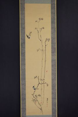 """JAPANESE HANGING SCROLL ART Painting """"Birds"""" Asian antique  #E8097"""