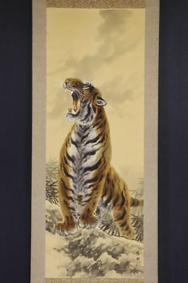 """JAPANESE HANGING SCROLL ART Painting """"Tiger"""" Asian antique  #E8090"""