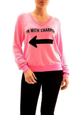 Wildfox Women's Party Girl I'm With Charming Jumper Pink Size M RRP£95 BCF73