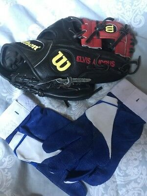Elvis Andrus Texas Rangers Game Used Glove And Batting Gloves