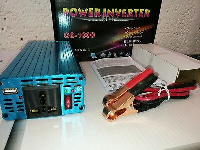 Boat Car 1000W converter power inverter DC 24V to AC 220V 230V 240V invertor USB