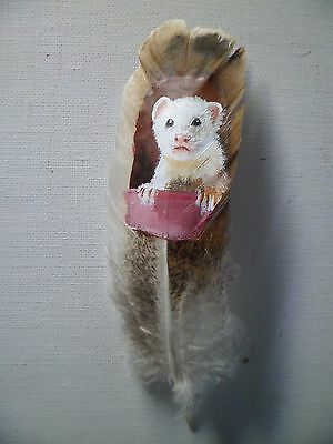 FERRET, WHI TE -- Hand painted rare turkey feather, by artist W. W. Hoffert