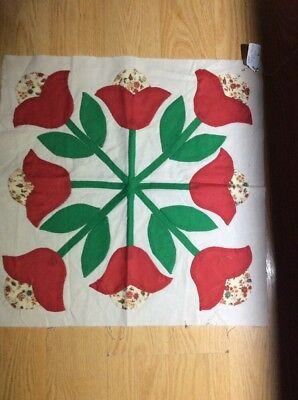 Vintage Quilt Square Red Tulips Hand Sewn Quilt Block