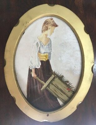 Vintage Oil Painting Of A Lady In Gold Gilt Frame