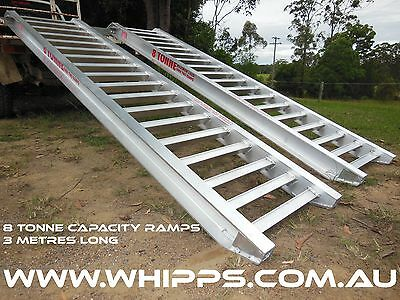 8 Tonne Capacity Machinery Loading Ramps 3 metres x 500mm track width