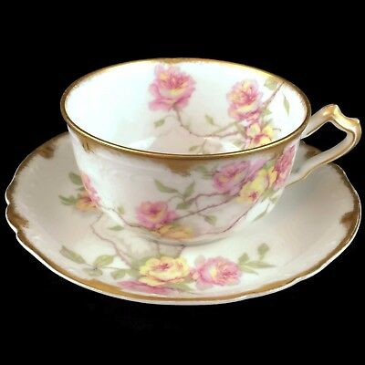 VTG Haviland Limoges Tea cup and Saucer Baltimore Rose Actual Pictured #1