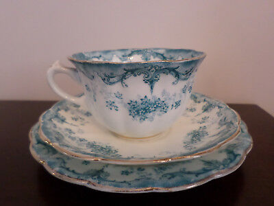 Antique (1890's) Allertons 'Meredith' blue Trio, cup saucer and plate)
