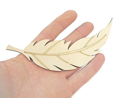 5x Wooden Feather (16cm) Shape Art Projects Craft  Decoration Gift Decoupage