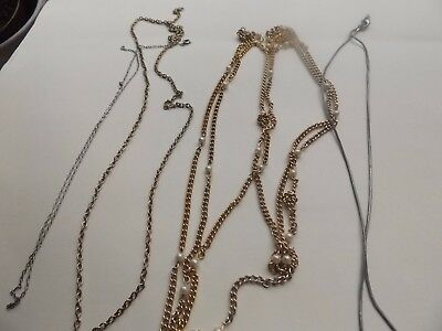 5 mixed gold and silver chains