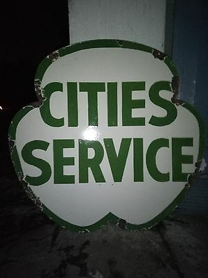 Porcelain enamel cities service double Sided sign
