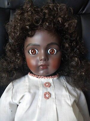Bru Jne reproduction black African American doll spiral eyes BEAUTIFUL signed 26