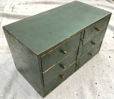 Charming Vintage Small Painted Wood Engineers Chest Of Drawers
