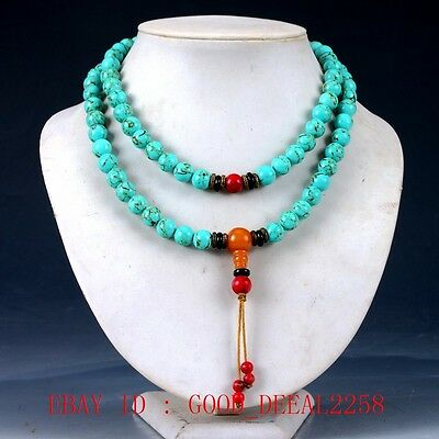 100% Natural Turquoise & Beeswax&Red Coral Handwork Carved Necklaces XL062