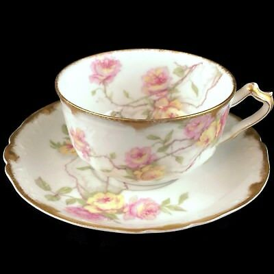 VTG Haviland Limoges Tea cup and Saucer Baltimore Rose Actual Pictured #3