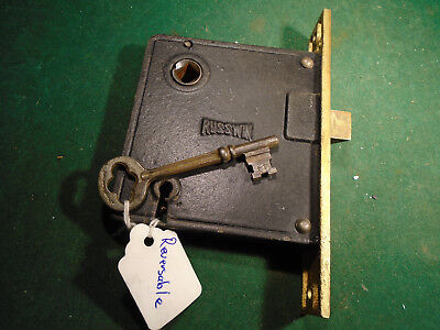 "VINTAGE RUSSWIN MORTISE LOCK w/ KEY - 5 1/2"" faceplate: RECONDITIONED! (9448-1)"