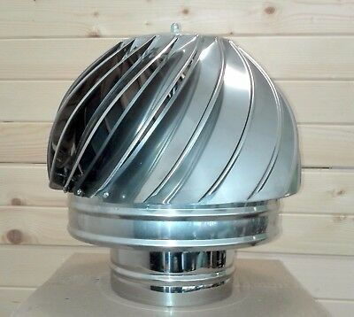 Stainless Steel Rotating Spinner Cowl Chimney Anti Down Draught 5.2'', 6'',8""