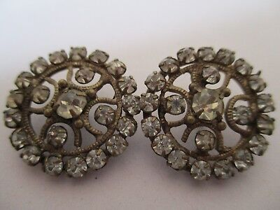Antique Victorian C 1890 -1901 Buttons (A Pair ) Round , Shiny Paste Collectable