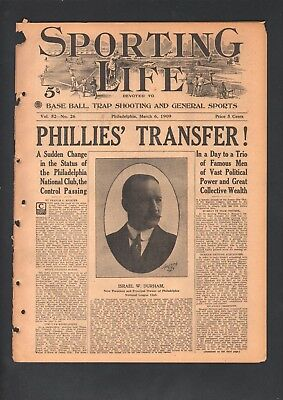 1909 Sporting Life Baseball Magazine Philadelphia Phillies Sold Israel Durham