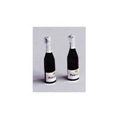 Dolls House Miniature: Two Sparkling Champagne Style Wine Bottles : in12th scale