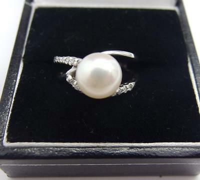 925 Sterling Silver ring Freshwater Cultured Pearl Ring Size L 1/2 UK  6 US  #16