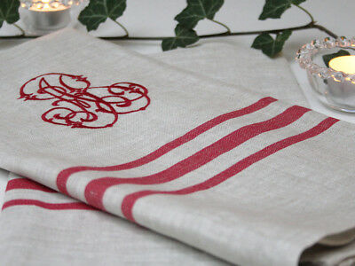 Luxury Red Linen Tea Towel Shabby Chic Vintage Antique French Monogram Christmas