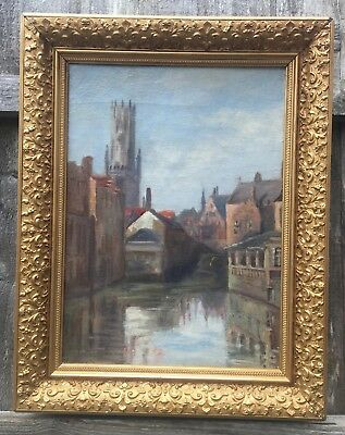 Large Continental Oil Painting Amsterdam Canals In Gold Gilt Frame