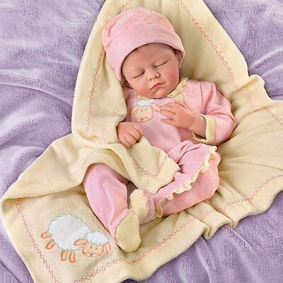 "ASHTON DRAKE - ""Counting Sheep"" Lifelike Baby Girl Doll by Marissa May"